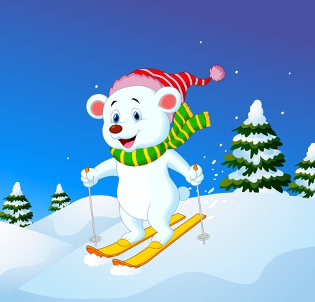 slope: Vector illustration of Cartoon polar bear skiing down a mountain slope