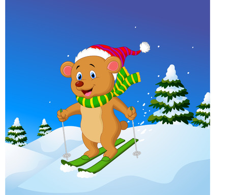 slope: Vector illustration of Cartoon bear skiing down a mountain slope Illustration