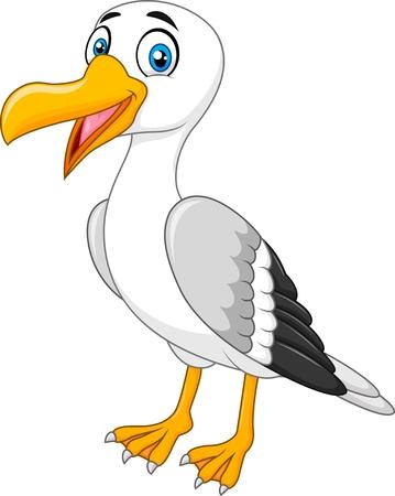 Ilustración del vector de la historieta de la gaviota posando aislados sobre fondo blanco