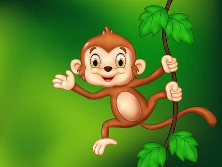 Vector illustration of Cartoon funny monkey hanging and waving hand Illustration