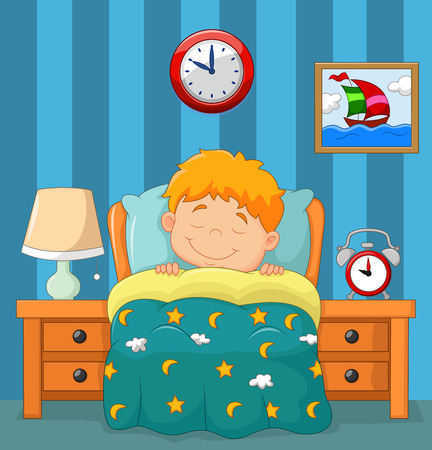 laying little: Vector illustration of The boy sleeping in the bed Illustration