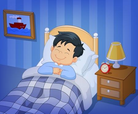 만화 벡터 일러스트 레이 션의 침대에서 어린 소년 자고 미소