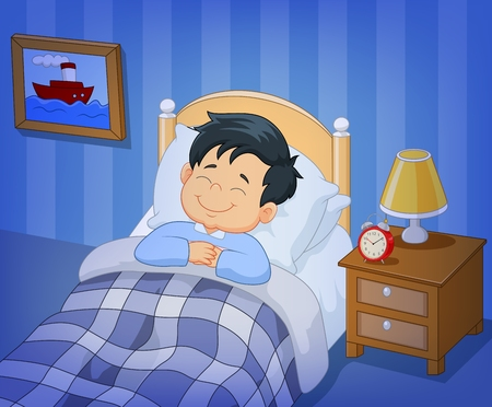buonanotte: Illustrazione vettoriale di Cartoon sorriso bambino che dorme nel letto Vettoriali