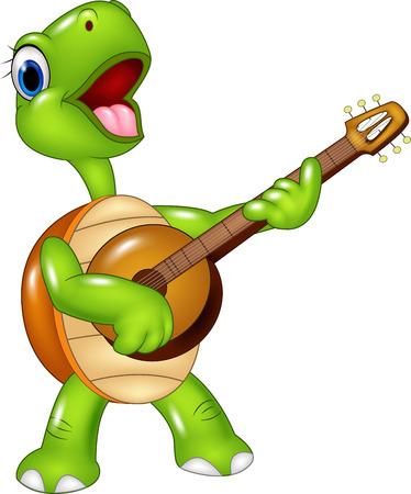 tortuga caricatura: Ilustración del vector de la tortuga de la historieta que toca una guitarra en el fondo blanco Vectores