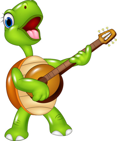 Vector illustratie van Cartoon schildpad die een gitaar op een witte achtergrond