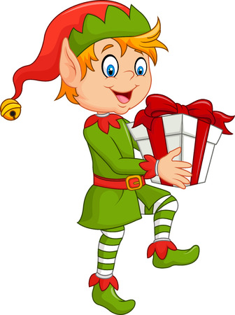 Vector ilustration of Happy green elf boy holding gifts on white background