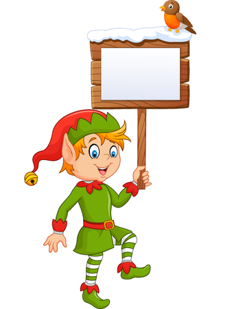 Vector illustration of Cartoon funny elf boy holding blank sign with robin bird