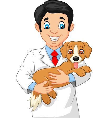Vector illustration of Veterinarian holding small dog