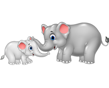 proboscis: Vector illustration of Cartoon mother and baby elephant bonding relationship