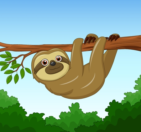 oso perezoso: ilustración vectorial de dibujos animados perezoso feliz que cuelga en el árbol