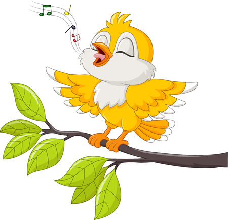 Vector illustration of Cute yellow bird singing isolated on white background Иллюстрация