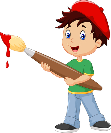 art and craft: Vector illustration of Little boy painting with paintbrush