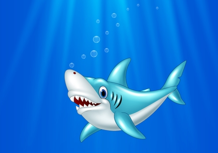cartoon swimming: Vector illustration of Cartoon shark swimming in the ocean