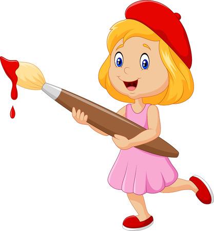brocha de pintura: Ilustración del vector de Pintura de la niña con la brocha en el fondo blanco