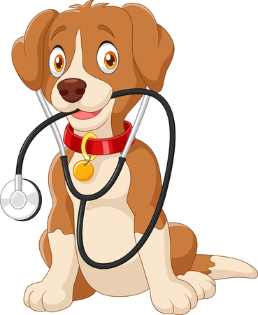 Ilustración del vector del perro lindo que se sienta con el estetoscopio Vectores