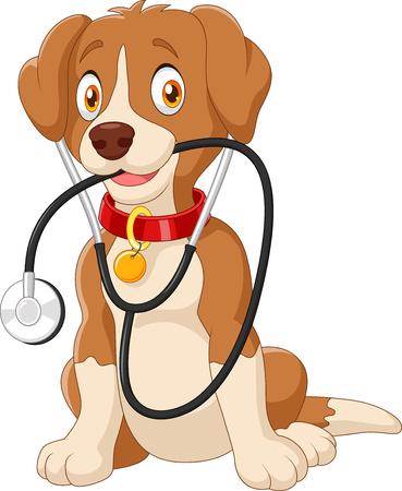 veterinario: Ilustración del vector del perro lindo que se sienta con el estetoscopio Vectores