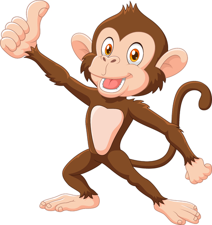 Vector illustration of Cute monkey giving thumb up isolated on white background