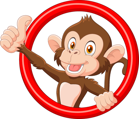 Vector illustration of Cartoon funny monkey giving thumb up