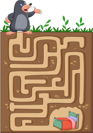 find: Vector illustration of Help mole to find way home in an underground maze.