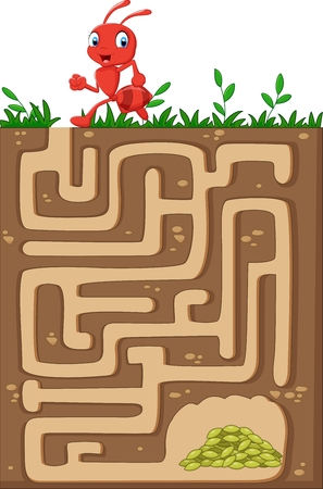 riddles: Vector illustration of Help red ant to find way to food grains in an underground maze.