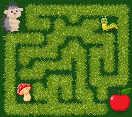 Vector illustration of Help hedgehog to find way to apple fruit in the grass maze game