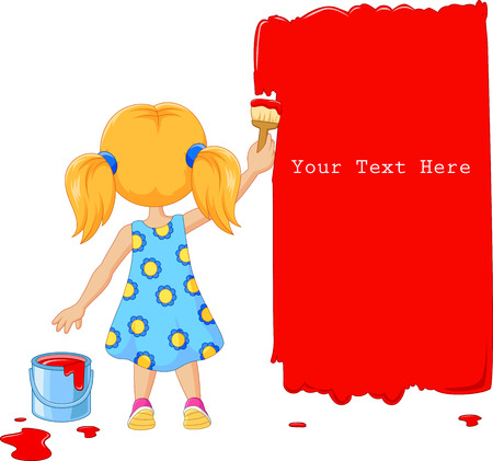 painting on the wall: Vector illustration of Cute little girl painting the wall with red color