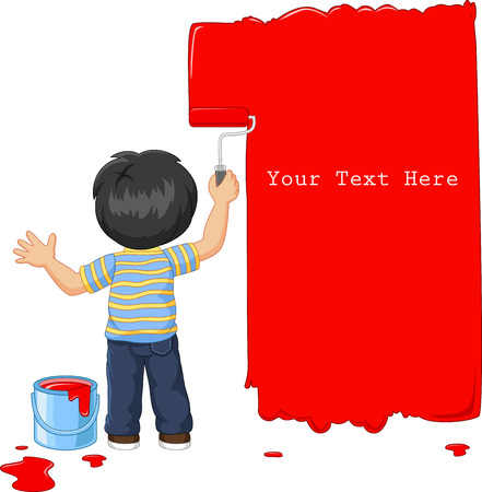 painting on the wall: Vector illustration of Cute little boy painting the wall with red color