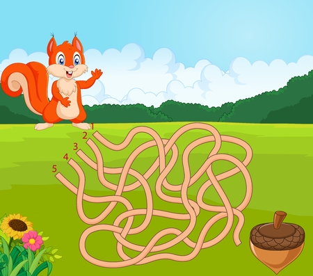 way: Vector illustration of Help squirrel to find way to pinecone in the maze game Illustration