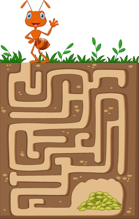 Vector illustration of Help ant to find way to food grains in an underground maze Illustration