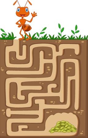 Vector illustratie van Help mier om plaats te maken om voedsel korrels vinden in een ondergrondse labyrint