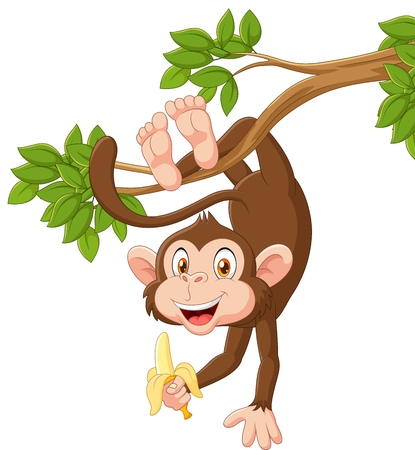 Vektorové ilustrace Cartoon šťastné opice zavěšení a držení banánem