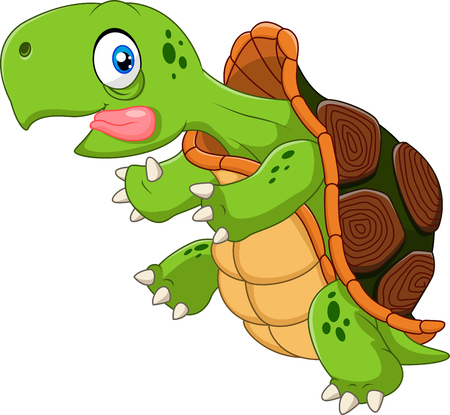 tortuga de caricatura: Ilustraci�n vectorial de tortuga divertida historieta que se ejecuta en el fondo blanco Vectores