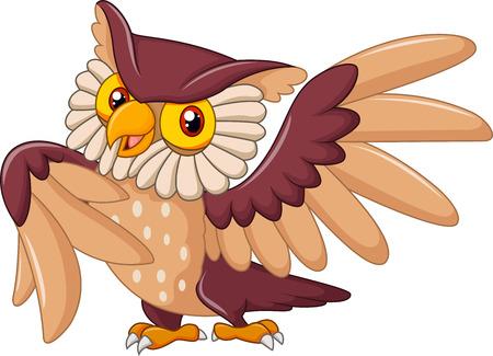 head wise: Vector illustration of Cartoon funny owl bird posing Illustration