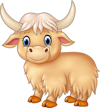 Vector illustration of Cartoon cute yak isolated on white background Çizim