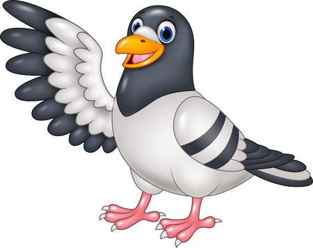 Vector illustration of Cartoon funny Pigeon bird presenting isolated on white background Ilustracja