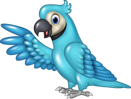 guacamaya caricatura: Ilustraci�n vectorial de dibujos animados divertido guacamayo azul que presentan, aislado en fondo blanco