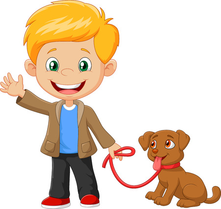 Vector illustration of Little boy with his dog isolated on white background Иллюстрация