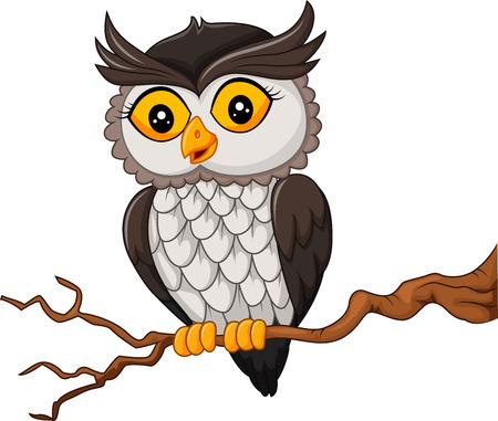 Vector illustratie van de cartoon uil vogel die zich voordeed op de boom