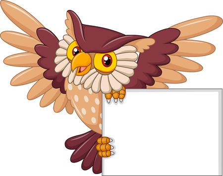 Vector illustratie van Cartoon owl vogel met het vliegen met blanco teken Stock Illustratie