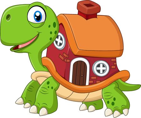 tortuga caricatura: Ilustración del vector de tortuga divertida de dibujos animados con la casa de shell Vectores