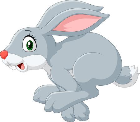 conejo: Ilustración del vector del conejito dibujos animados feliz saltando aislado en fondo blanco