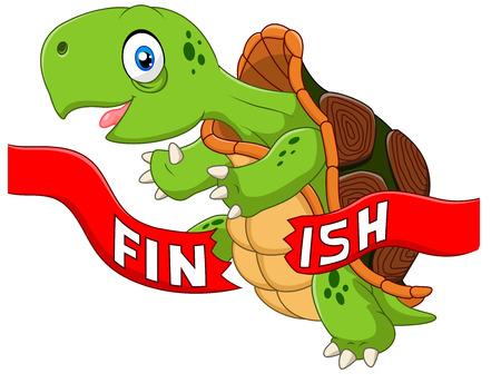 animaux: Vector illustration de bande dessinée tortue victoires en franchissant la ligne d'arrivée