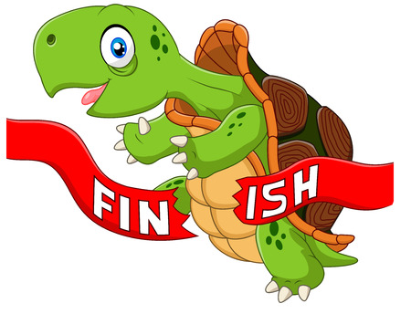 slow: Vector illustration of Cartoon turtle wins by crossing the finish line Illustration