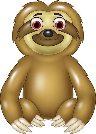 oso perezoso: Ilustración del vector de la pereza de la historieta divertida sesión aislados en fondo blanco
