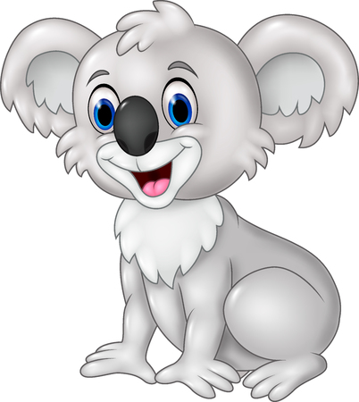 Vector illustration of Cartoon funny koala sitting isolated on white background Illustration