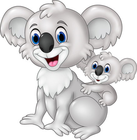 animal vector: Vector illustration of Cartoon funny baby Koala on Mothers Back