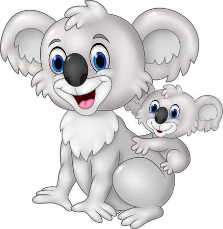 funny baby: Vector illustration of Cartoon funny baby Koala on Mothers Back