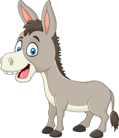 ass fun: Vector illustration of Cartoon happy donkey isolated on white background