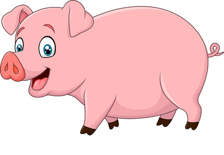 cerdos: Ilustración vectorial de cerdo feliz de dibujos animados aislado en el fondo blanco