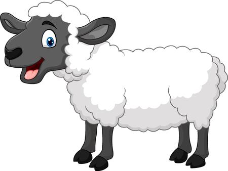 ovejitas: Ilustraci�n vectorial de ovejas de dibujos animados feliz posando aisladas sobre fondo blanco Vectores